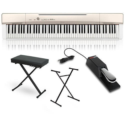 Casio Privia PX-160GD Digital Piano with Stand Sustain Pedal and Deluxe Keyboard Bench-thumbnail