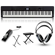 Casio Privia PX-350 Digital Piano Black with Stand, Sustain Pedal, Deluxe Keyboard Bench, and Headphones