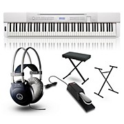 Casio Privia PX-350 Digital Piano White with Stand, Sustain Pedal, Deluxe Keyboard Bench and Headphones