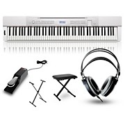 Casio Privia PX-350 Digital Piano White with Stand, Sustain Pedal, Deluxe Keyboard Bench, and Headphones