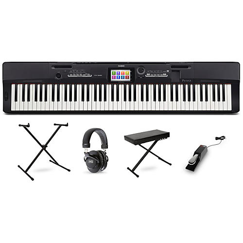 Casio Privia PX-360 Digital Piano with Stand Sustain Pedal Deluxe Keyboard Bench and Headphones-thumbnail
