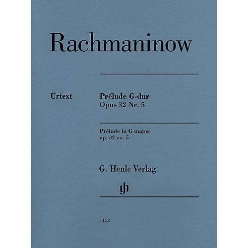 G. Henle Verlag Prélude in G Major Op. 32 No. 5 Henle Music Folio by Rachmaninoff Edited by Dominik Rahmer (Advanced)