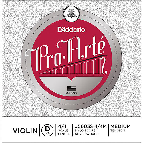 D'Addario Pro-Arte Series Violin D String 4/4 Size Medium Silver