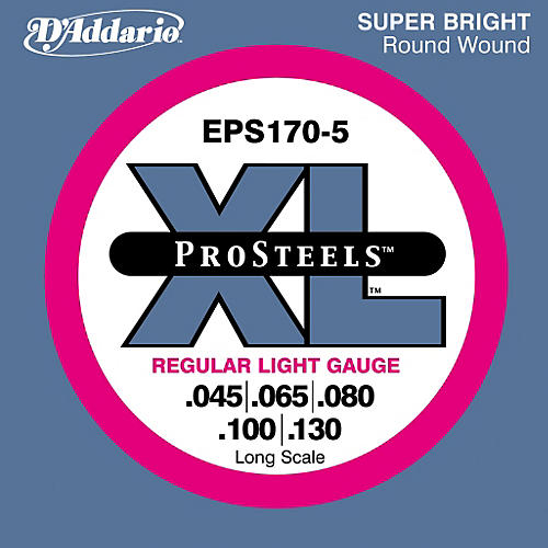 D'Addario ProSteels EPS170-5 Regular Light 5-String Bass Strings-thumbnail