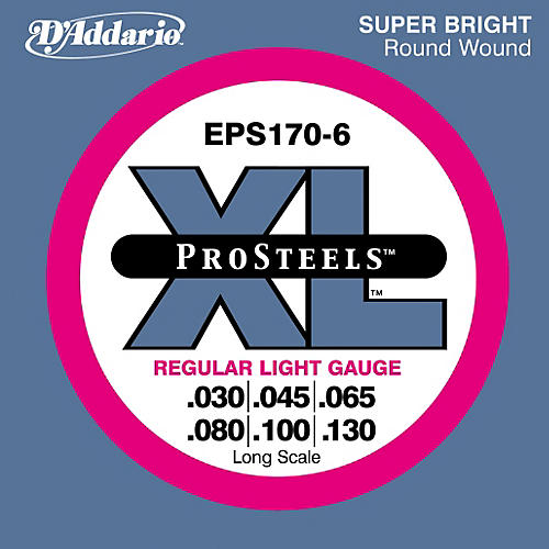 D'Addario ProSteels EPS170-6 Regular Light 6-String Bass Strings
