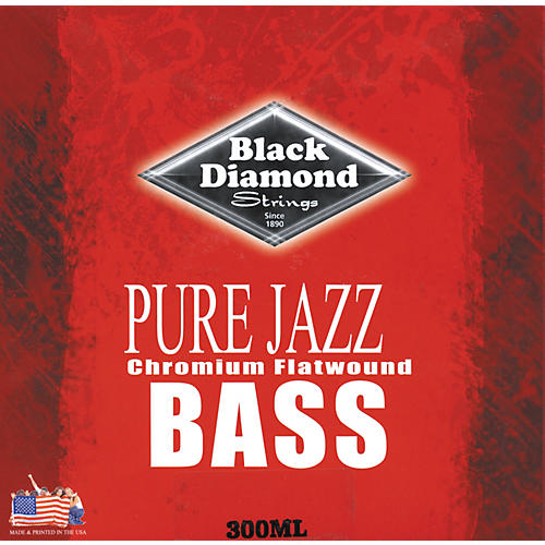 Black Diamond Pure Jazz Bass Guitar Chromium Flat Wound Strings-thumbnail