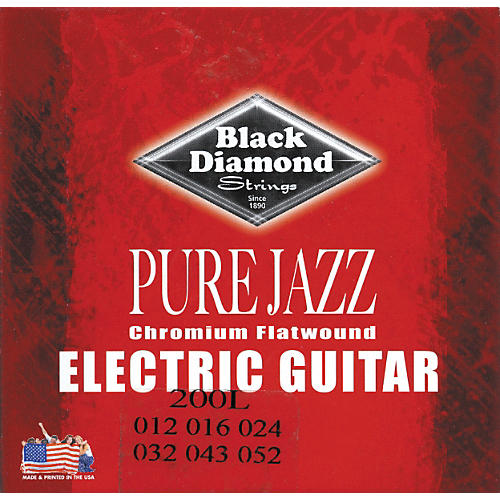 Black Diamond Pure Jazz Electric Guitar Chromium Flat Wound Strings