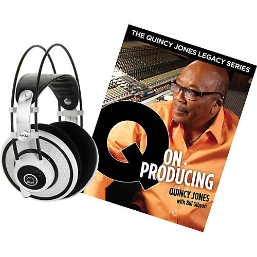 AKG Quincy Jones Q701 Headphones with Q on Producing Book White