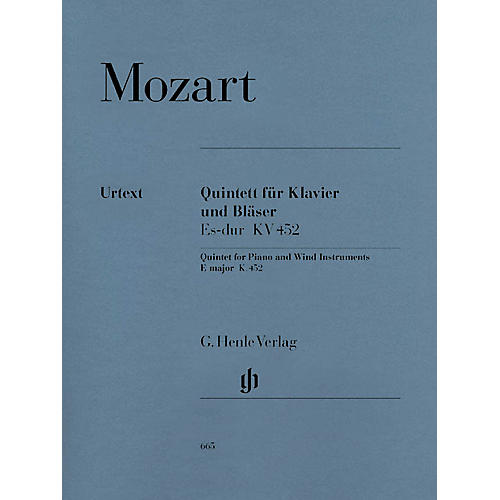 G. Henle Verlag Quintet for Piano and Wind Instruments in E-flat Maj, K. 452 Henle Music Folios Book by Mozart