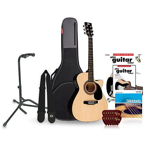 Rogue RA-090 Concert Cutaway Acoustic-Electric Guitar Bundle