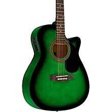 RA-090 Concert Cutaway Acoustic-Electric Guitar Green Blue Burst