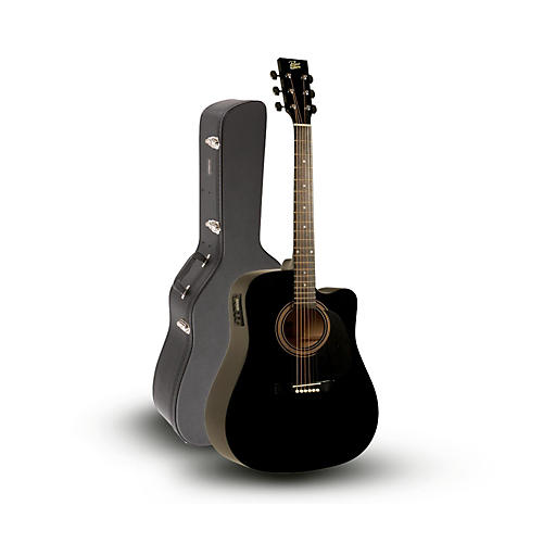 Rogue RA-090 Dreadnought Cutaway Acoustic-Electric Guitar, Black with Road Runner RRDWA Case-thumbnail