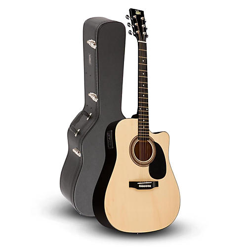 Rogue RA-090 Dreadnought Cutaway Acoustic-Electric Guitar, Natural with Road Runner RRDWA Case