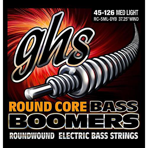 GHS RC-5MLDYB Round Core Boomers Medium/Light 5-String Electric Bass Strings (45-126)-thumbnail
