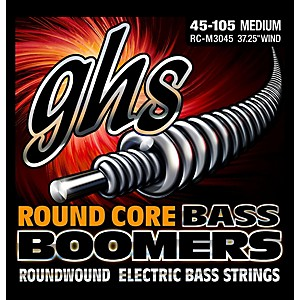 GHS RC-M3045 Round Core Boomers Medium Electric Bass Strings 45-105 by GHS