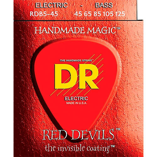 DR Strings RED DEVILS Red Coated Medium 5-String Bass Strings (45-125)-thumbnail