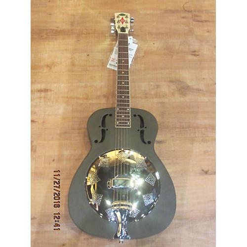 Regal RESONATOR Acoustic Guitar Black and Silver