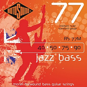 Rotosound RS77M Jazz Bass Monel Flat Wound Strings by Rotosound