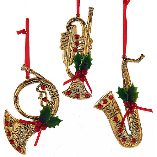 Kurt S. Adler Red/Gold Musical Instrument With Holly/Red Gem Ornaments 3/Assorted-thumbnail