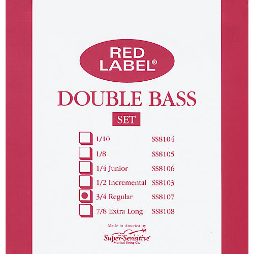 Super Sensitive Red Label 3/4 Size Double Bass Strings-thumbnail