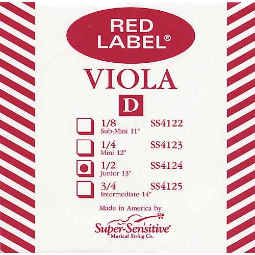 Super Sensitive Red Label Viola D String  Junior