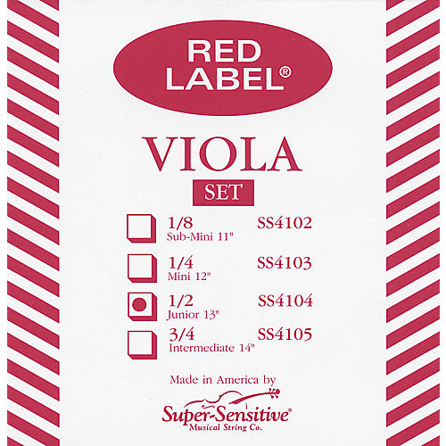 Super Sensitive Red Label Viola String Set  Junior