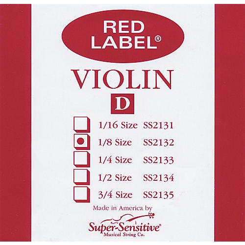 Super Sensitive Red Label Violin D String  1/8