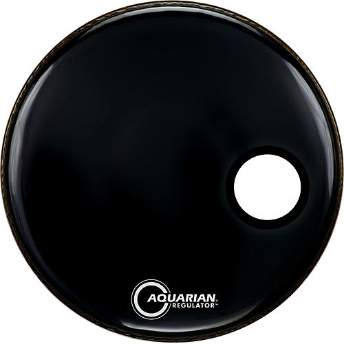 Aquarian Regulator Black Resonant Kick Drumhead Black 20 in.