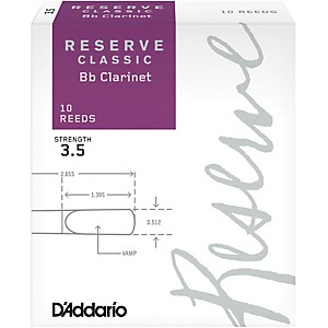 Daddario Woodwinds Reserve Classic Bb Clarinet Reeds 10 Pack by D'Addario Woodwinds