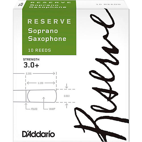 D'Addario Woodwinds Reserve Soprano Saxophone Reeds 10-Pack Strength 3.0+