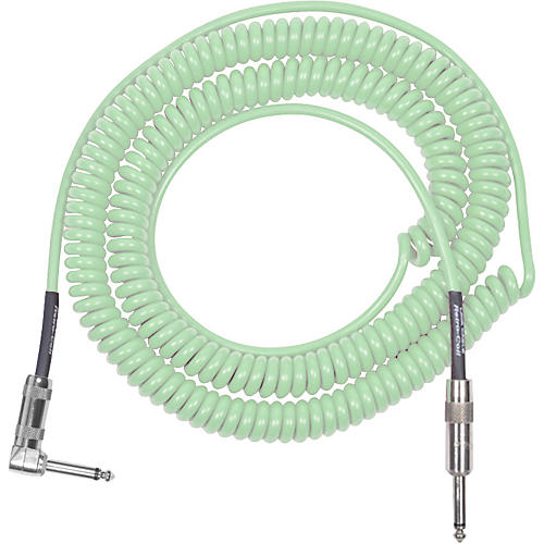 Lava Retro Coil 20 Foot Instrument Cable Straight to Right Angle Surf Green