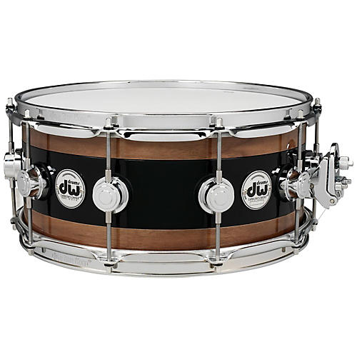 DW Reverse Edge Snare, Black Core with Walnut Rings