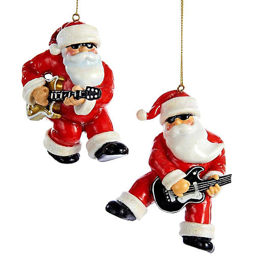 Kurt S. Adler Rock & Roll Santa Ornament 2/Assorted