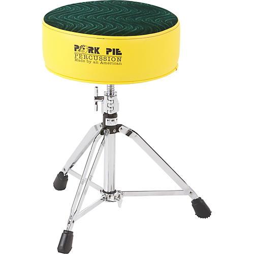 Pork Pie Round Drum Throne Yellow Wtih Green Swirl Top