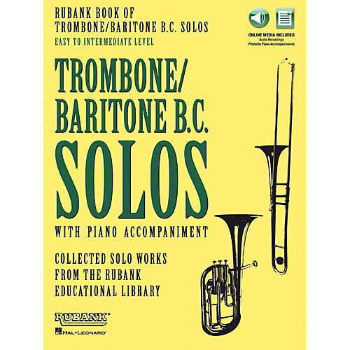 Hal Leonard Rubank Book of Trombone/Baritone B.C. Solos Easy - Intermediate Book/Audio Online-thumbnail
