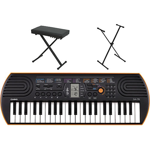 Casio sa 76 keyboard with stand and bench orange guitar Keyboard stand and bench
