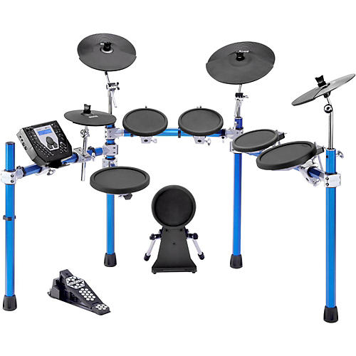 Simmons SD1500 Electronic Drum Set with Blue Metallic Rack