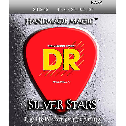 DR Strings SIB-45-125 Silver Stars Coated 5 String Bass Guitar Strings-thumbnail