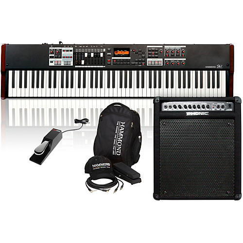 Hammond SK1-88 88-Key Digital Stage Keyboard and Organ with Keyboard Accessory Pack, MK50 Keyboard Amplifier, and Sustain Pedal