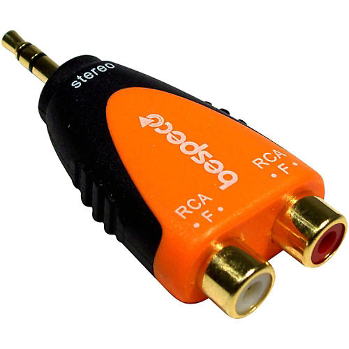 Bespeco SLAD380 3.5 mm Stereo Male to 2 RCA Female 24K Gold-Plated Adapter<br>-thumbnail