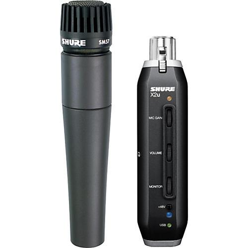 Shure SM57 Microphone with X2u XLR-to-USB Adapter Bundle