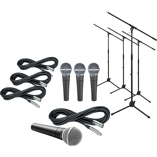 Shure SM58 Mic Four Pack with Cables & Stands