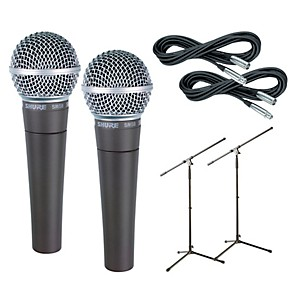 Shure SM58 Microphone Two Pack with Cables and Stands