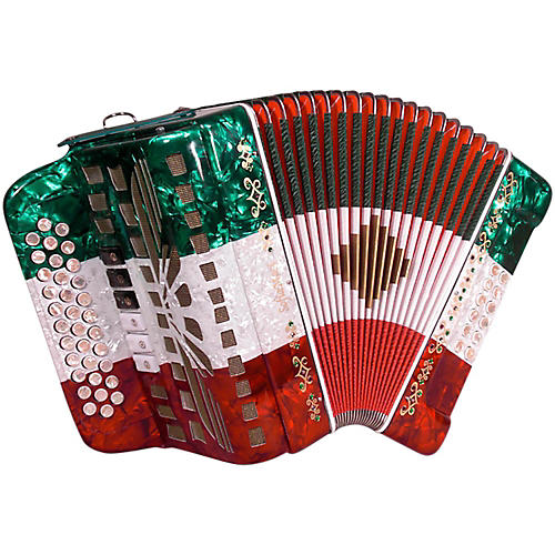 SofiaMari SMTT-3412, Two Tone Accordion Red,White,Green Sol/Mi