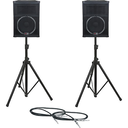 Peavey SP 5 Speaker Pair with Stands and Cables-thumbnail