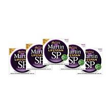 Martin SP 6050 80/20 Bronze Lifespan Coated Acoustic Strings Custom Light Regular (5 Pack)