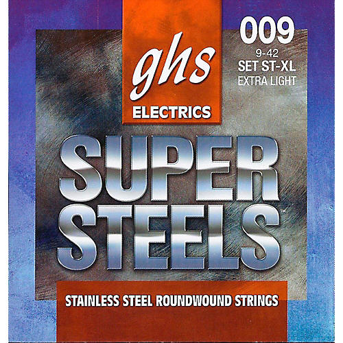GHS ST-XL Super Steels Roundwound Extra Light Electric Guitar Strings-thumbnail