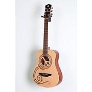 Luna Guitars Safari 3/4 Size Travel Guitar with Peace Design