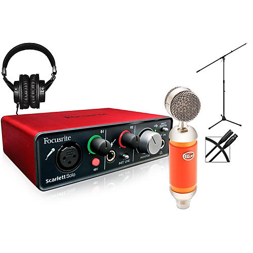 Focusrite Scarlet Solo with Spark microphone, headphones, stand & cable