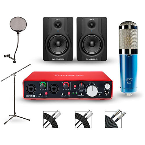 focusrite scarlett 2i4 recording package with mxl 4000 and m audio bx5 pair guitar center. Black Bedroom Furniture Sets. Home Design Ideas